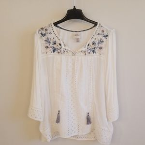 Lace detailed long sleeve blouse